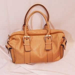Hype beige leather buckle detail satchel